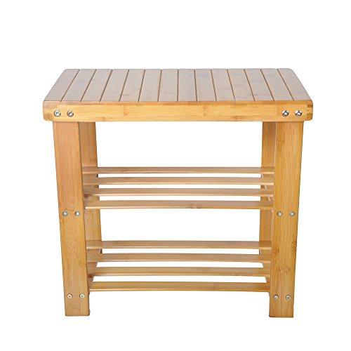LUCKYERMORE 2-Tire Shoe Bench Entryway Storage Shelf Bamboo Shoes Rack Small