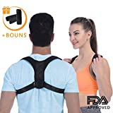 (2019 New) Posture Corrector for Women and Men, FDA Approved Adjustable Upper Back Brace for Providing Pain Relief from Back, Shoulder and Neck, Medical Kyphosis Trainer Under Clothes+Underarm Pads