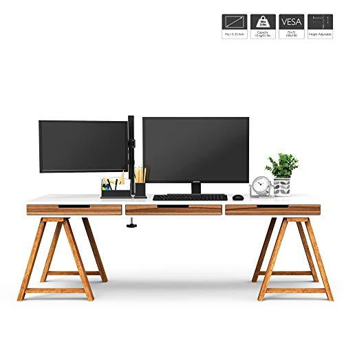 "41ylqIfmhnL - 1home Single Arm Desk Mount Ergonomic LCD LED Computer Monitor Bracket Stand Tilt Swivel Rotation 13""-32"" Screen TV | VESA Dimensions: 75x75-100x100"