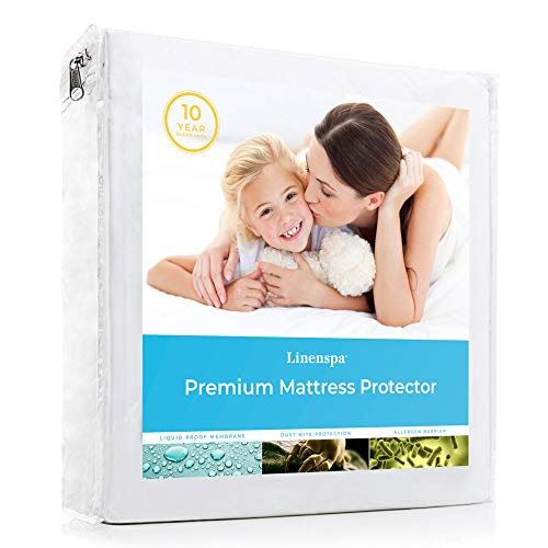 LINENSPA Premium Smooth Fabric Mattress Protector - 100% Waterproof - Hypoallergenic - Top Protection Only - Vinyl Free - Twin XL