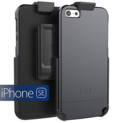 iPhone SE Belt Clip Case, Encased SlimSHIELD Series (Ultra Slim) Cover w/Swivel Holster - Black (for Apple iPhone 5, 5S, iPhone SE)