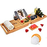 Domax Bathtub Caddy Tray with Wine Glass Holder - Adjustable Book Stand with Waterproof Cloth Extendable Non Slip Sides 2 Removable Boards Bamboo Bath Organizer