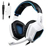 PS4 Xbox One Gaming Headsets, Sades Sades SA920 3.5mm Wired Over Ear Stereo Gaming Headphones with Microphone for PC iOS Computer Gamers Smart Phones Mobiles(Black White)