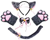 Beelittle Cat Cosplay Costume Kitten Ears Tail Collar Paws Cat Cosplay Collection 5 Pack (Gray)