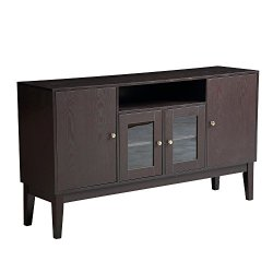 Mixcept 60″ Modern Solid Wood Sideboard Buffet Table Storage Cabinet Tall Console Table with 4 Doors, Espresso