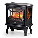 TURBRO Suburbs 20' 1400W Electric Fireplace Stove, CSA Certified Freestanding Heater with Realistic Log Flame Effect, Black