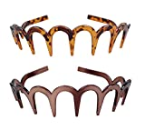 2Pcs Women Comfortable Shark Tooth Comb Headband Hair Band U Toothed Headband Lady Hair Accessory (Dark coffee color + Brown)