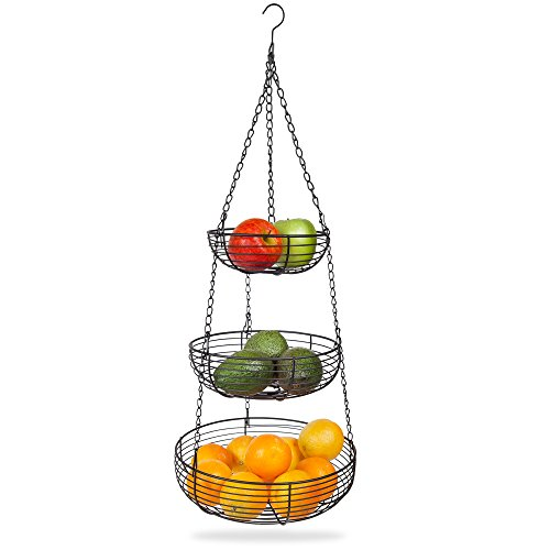 Home Intuition 3-Tier Hanging Basket Heavy Duty Wire, Round (Black)