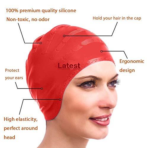 E – Royal Shop Silicone Swim Bathing Caps for Women Long and Short Hair, Sport Waterproof Swimming Pool Cap (Multicolour)