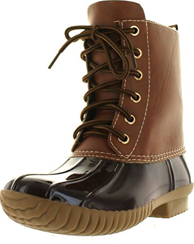 AXNY Dylan Women's Lace Up Two Tone Combat Style Calf Rain Duck Boots,Brown,7