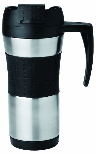 Copco 2510-9267 Flair Double Wall Stainless Steel Tumbler with Spill Resistant Flip Top Lid and Contoured Handle, 16-Ounce, Steel/Black