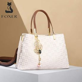 FOXER-Leather-Satchel-Handbags-for-Women-Split-Cowhide-Alphabet-Pattern-Ladies-Signature-Top-handle-Bag-with-Nylon-Shoulder-Strap-Womens-Fashion-Purses-and-Handbags-Womens-Medium-Tote-White
