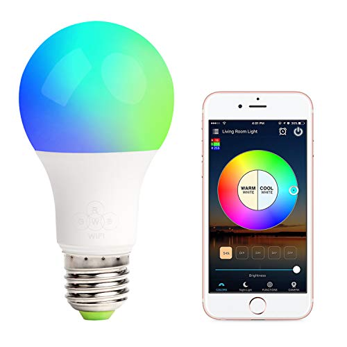 GeekDigg WiFi Smart Light Bulb, Compatible with Alexa and Google Assistant, Multicolor, Dimmable, No Hub Required, E27 A19 RGBW Edison Bulb