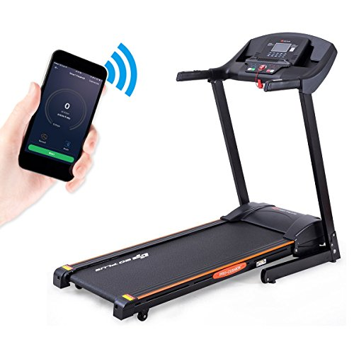 Goplus 2.5HP Folding Treadmill Electric Incline Jogging Running Fitness Machine w/ App Control, Large LCD Display (Black)