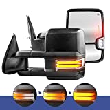 MOSTPLUS New Power Heated Chrome Towing Mirrors for Chevy Silverado GMC Serria 2014-2018 w/Sequential Turn light, Clearance Lamp, Running Light(Set of 2) Not for diesel truck