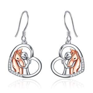 YFN Rose Gold Horse Earrings Sterling Silver Animal Stud Earrings Girls Embrace Horse Gift for Girls