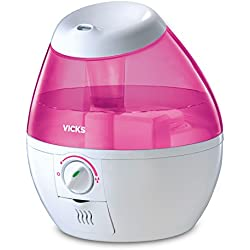 Vicks Mini Filter Free Cool Mist Humidifier Small Humidifier for Bedrooms, Baby, Kids Rooms, Auto-Shut Off, 0.5 Gallon Tank for 20 Hours of Moisturized Air, Use with Vicks VapoPads, Pink