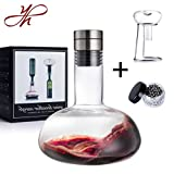 YouYah Red Wine Breather Carafe,Wine Decanter Set with Drying Stand,Steel Cleaning Beads and Aerator Lid,Crystal Glass,Wine Gift
