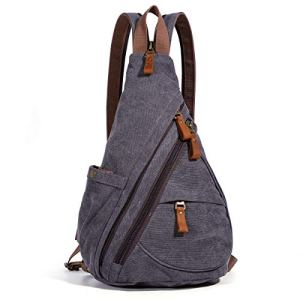 Canvas Sling Bag - Small Crossbody Backpack Shoulder Casual Daypack Chest Bags Rucksack for Men Women Outdoor Cycling Hiking Travel (6881-D.Grey) 7 Fashion Online Shop 🆓 Gifts for her Gifts for him womens full figure
