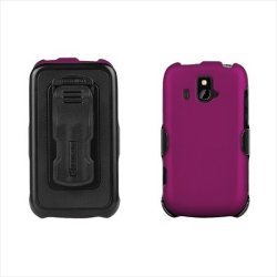 Beyond Cell 3-In-1 Kombo Case and Holster Belt Clip Combo with Screen Protector for ZTE Overture Z995 - Non-Retail Packaging - Purple