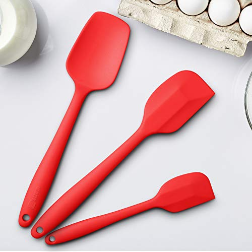 Silicone Spatula 3-piece Set, High Heat-Resistant Good Grips Spatulas, Non-stick Rubber Spatulas with Stainless Steel Core (Red)