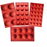 Semicircle Silicone Mold,Shxmlf Half Sphere Chocolate, Candy and Gummy Mold Teacake Bakeware Set for Cake Decoration Mousse Dome Jelly Ice Cream Bombe Cupcake Baking Mold, Assorted Size,Set of 4