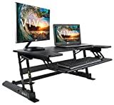 VIVO Height Adjustable Standing Desk Sit to Stand Gas Spring Riser Converter | 36' Tabletop Workstation fits Dual Monitor (DESK-V000B)