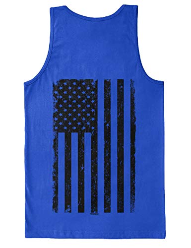 Distressed Black USA Flag - United States Men's Tank Top (Royal - Back Print, Small)