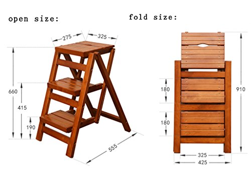 Solid Wood Wooden Ladder Multifunction Folding Stairs Stool Ladder Stool Household Ladder Dual-use Creative Step Ladder (Color : Brown)