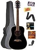 Oscar Schmidt OGHS 1/2-Size Acoustic Guitar - Black Bundle with Gig Bag, Tuner, Strap, Strings, Picks, and Polishing Cloth
