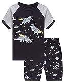 Family Feeling Dinosaur Astronaut Big Boys Short Sleeve Pajamas 100% Cotton Pjs Kids Sleepwears Size 10