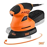 TACKLIFE Detail Sander 1.60A, Advanced 360° Rotatable Sanding Pad, 12,000 OPM Mouse Detail Sander with Sturdy Dust Collection Container, 3 Meter Cord, Ideal for DIY, Home Decoration PMS02B