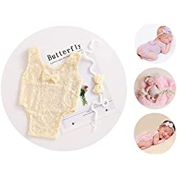 Newborn Girl Photography Outfits Lace Bow Vest Bodysuits and Headband (Beige)