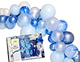 Chrome Ocean Baby Blue 16ft Balloon Garland Party Decoration Arch Kit, Balloons, Tape, Tool, Instructions, Baby Shower, Birthday - by TOKYO SATURDAY (Ocean Blue)