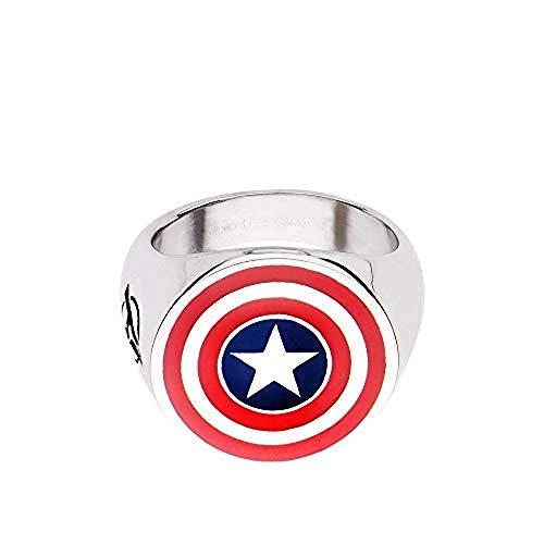 Marvel Men's Stainless Steel Captain America Logo Ring (10 Size)