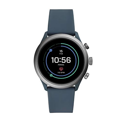 71RDRgQ0VDL Heart rate tracking, Google Pay(TM), GPS, rapid charging, smartphone notifications, touchscreen functionality, Google Assistant, microphone, music storage & controls, customizable watch faces, custom goal & alarm settings, multiple time zones Swimproof; estimated 24 hour battery life, based on usage; rapid charger included; additional third party apps available through Google Play Store on your watch; imported Case size: 43mm; Band size: 22mm; lightweight smoke grey plated aluminium case