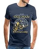 Spreadshirt Never Underestimate an Old Man Mountain Bike Men's Premium T-Shirt, L, Navy