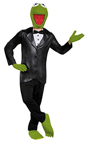 UHC Men's Kermit the Frog Outfit Deluxe Comical Theme Halloween Fancy Costume, STD (42-46)