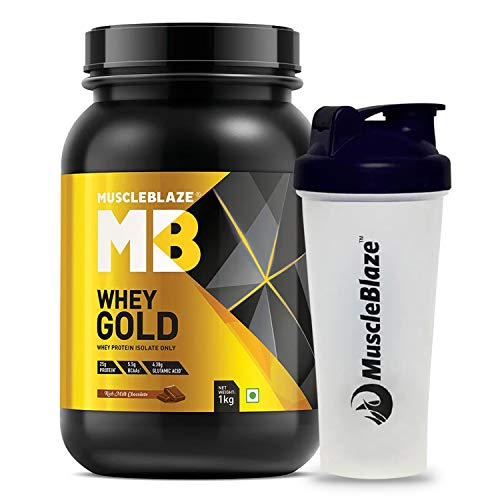 Muscleblaze Whey Gold 100% Whey Isolate Protein Supplement Powder, 1 Kg (Rich Milk Chocolate) With Shaker (Rich Milk Chocolate, 1 kg / 2.2 lb)