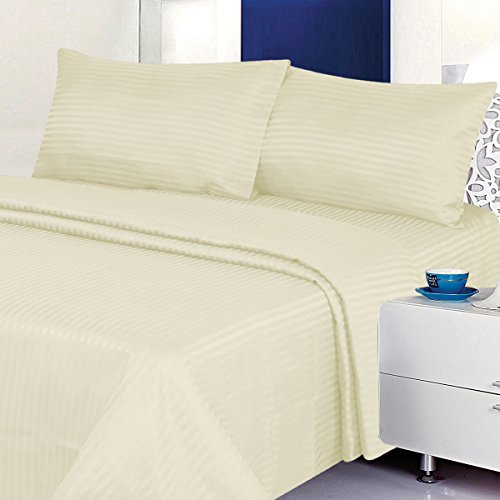 BUY ONE GET ONE FREE - 4 Piece Classic Dobby Stripe Sheet Set, Wrinkle Free Double Brushed Microfiber 2000 Series Sheet And Pillow Case Set (Beige, King)