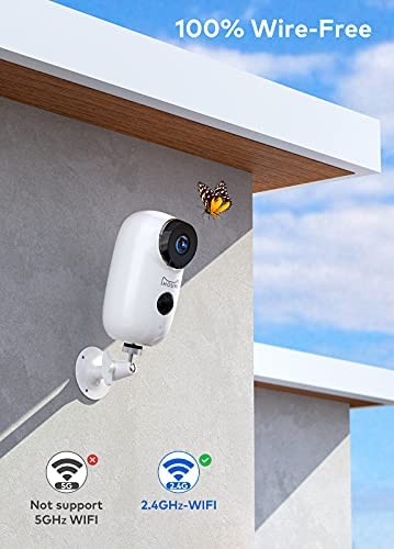 (2021 Upgraded) Security Camera Wireless Outdoor, IHOUMI WiFi Battery Indoor Camera, IP65 Waterproof, IP Cam with Two-Way Audio, Night Vision, Motion Detection(with Rechargeable Battery)
