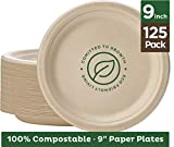Stack Man 100% Compostable 9' Paper Plates [125-Pack] Heavy-Duty Quality Natural Disposable Bagasse, Eco-Friendly Made of Sugar Cane Fibers, 9 inch, Brown