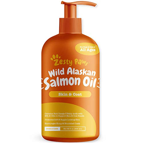Pure Wild Alaskan Salmon Oil for Dogs & Cats - Supports Joint Function, Immune & Heart Health - Omega 3 Liquid Food Supplement for Pets - All Natural EPA + DHA Fatty Acids for Skin & Coat - 32 FL OZ