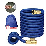 """Expandable Garden Hose,Flexible Garden Hose 50 ft,Water Hoses Expandable with 3/4"""" Solid Brass Fittings 3-layer Latex Compact Hose with on/off Valve Lightweight Hoses Easy Storage Blue"""