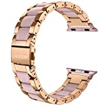 Wearlizer Compatible with Apple Watch Band 42mm 44mm Fashion Wristbands Womens iWatch Stainless Steel and Resin Replacement Strap Bracelet Metal Clasp Series 4 3 2 1 Sport Edition-Dark Rose Gold+Pink