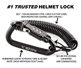 Motorcycle Helmet Lock & Cable. Sleek Black Tough Combination PIN Locking Carabiner Device Secures Your Motorbike, Bicycle or Scooter Crash Hat (and Jacket) to Your Bike.