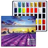 MozArt Supplies Komorebi Japanese Watercolor Paint Set - 40 Colors - Including Metallic and Neon - Artist Quality - Richly Pigmented- Perfect for Artists, Students or Hobbyists