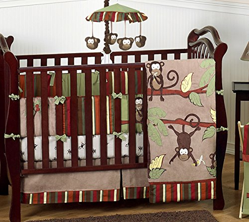 Monkey Jungle Safari Baby Bedding 9pc Crib Set