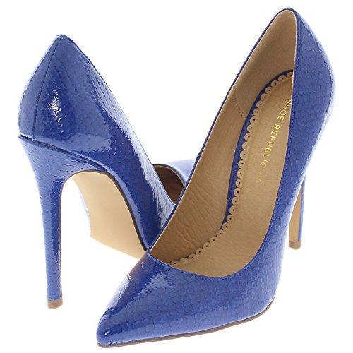 Shoe Republic LA Pointy Toe Faux Snakeskin Patent Pumps Nimo (Blue 5.5)