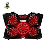 Tree New Bee 15.6'-17' Laptop Cooling Pad Cooler,Gaming Laptop Cooling Pad with Five 120mm Fans at 1200rpm, Ultra-Portable and Ultra-Light (Black and Red)